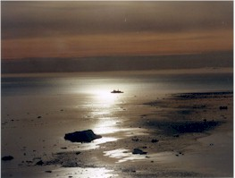 Yamal floating in Barents Sea dusk